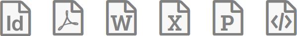 Icons für InDesign, PDF, Word, Excel, PowerPoint, HTML