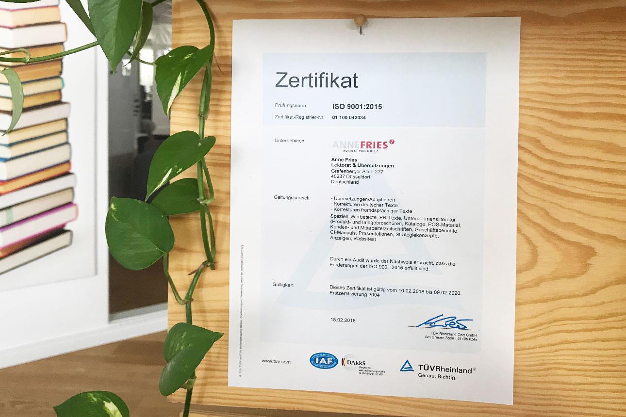TÜV-Zertifikat 2018